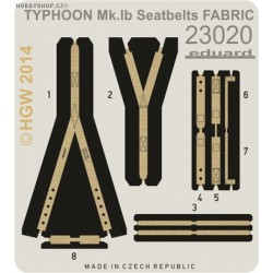 Typhoon Mk.Ib seatbelts FABRIC - 1/24 painted PE set