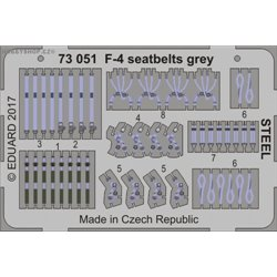 F-4 seatbelts grey STEEL - 1/72 barevný leptaný set