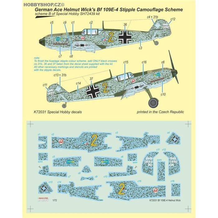 Bf 109E-4 German Ace H. Wick Decal Motley Camo - 1/72 obtisky
