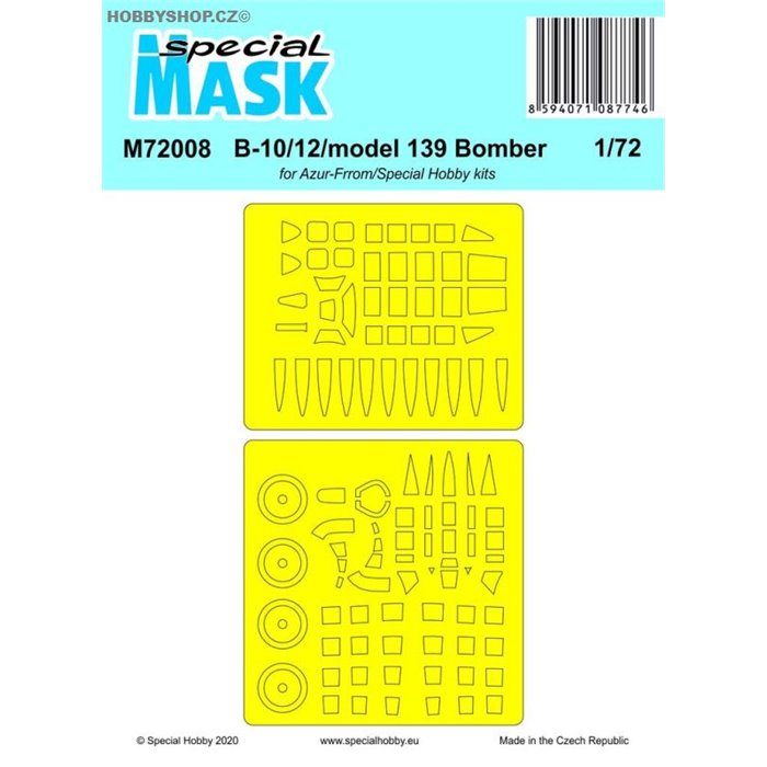 B-10/12/model 139 Bomber  Mask - 1/72 mask