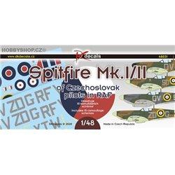 Spitfire Mk.I/II ČS pilotů v RAF - 1/48 obtisk