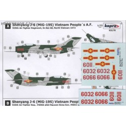 Shenyang J-6 (MiG-19S) Vietnam P.A.F. - 1/72 decal