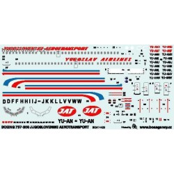 Boeing 737-300 Jugoslovenski Aerotransport - 1/144 decal